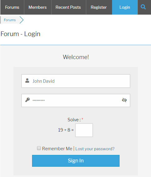 wpForo Login Form Logical Captcha