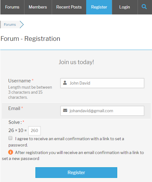 wpForo Register Form Logical Captcha