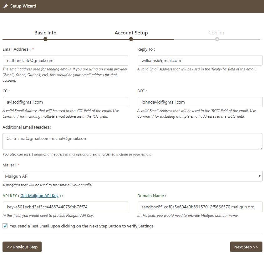 Email Setup with MailGun API