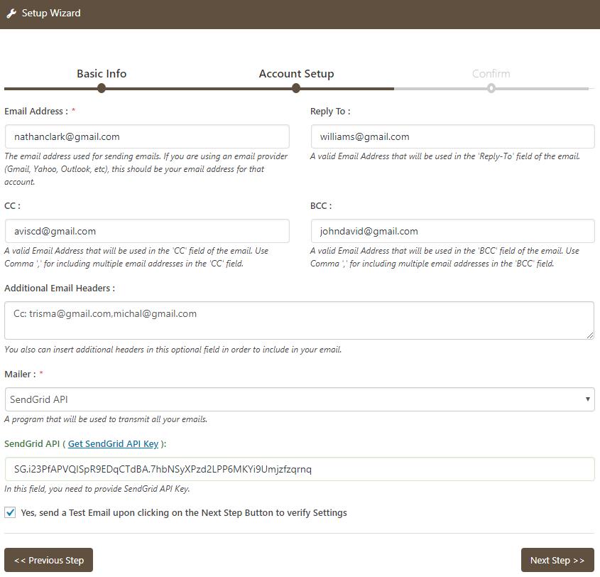 Email Setup With SendGrid API