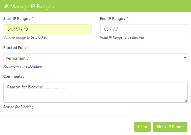 Manage IP Range