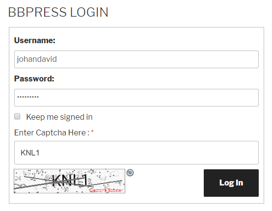 bbPress Login Form Text Captcha
