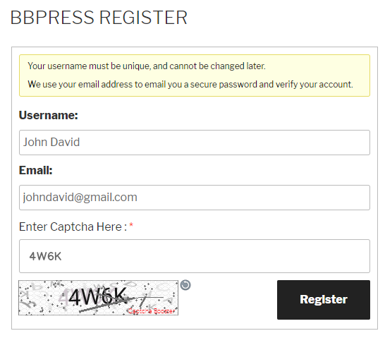bbPress Register Form Text Captcha