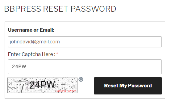 bbPress Reset Password Text Captcha