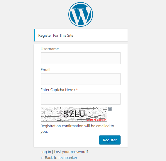 Register Form Text Captcha