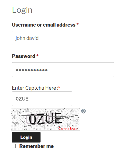 WooCommerce Login Form Text Captcha
