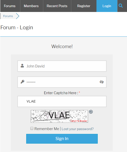 wpForo Login Form Text Captcha