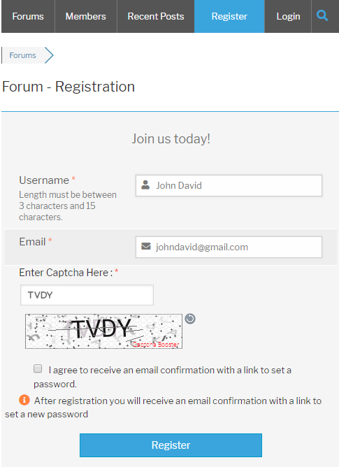 wpForo Register Form Text Captcha