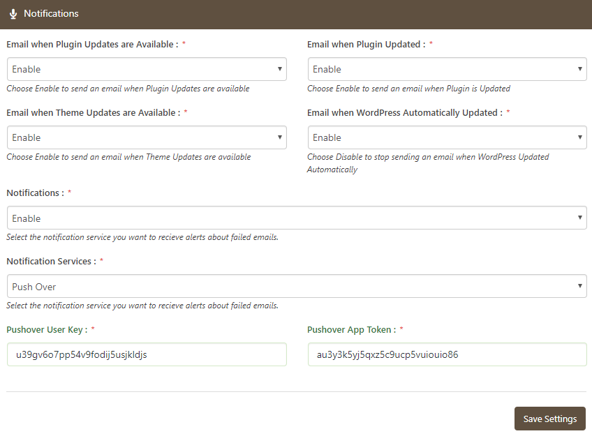 Pushover Notification Service Settings