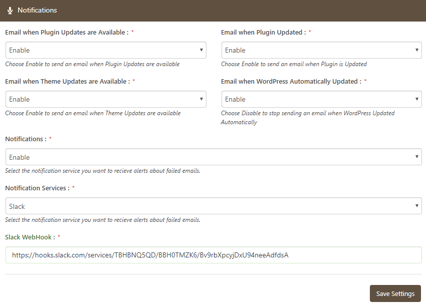 Slack Notification Service Settings