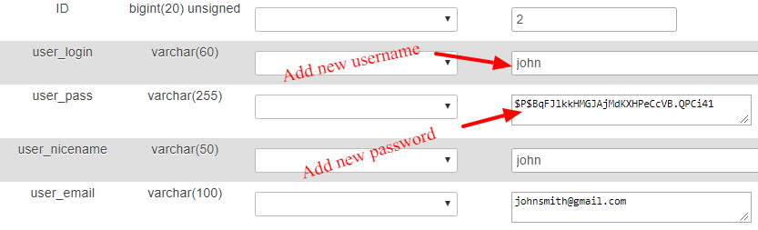 Add New Username and Password
