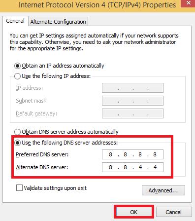 Change Dns Server Address