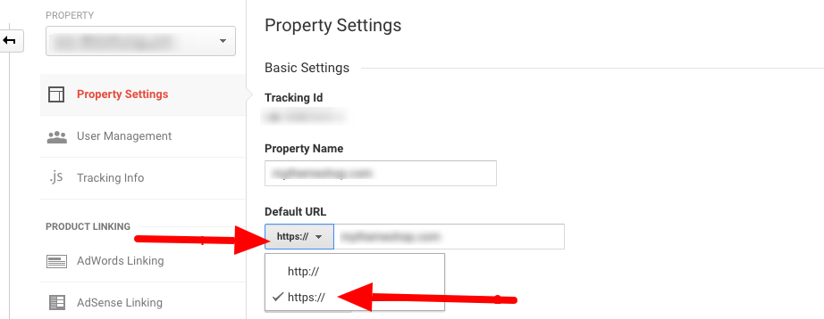Change Google Analytics Settings