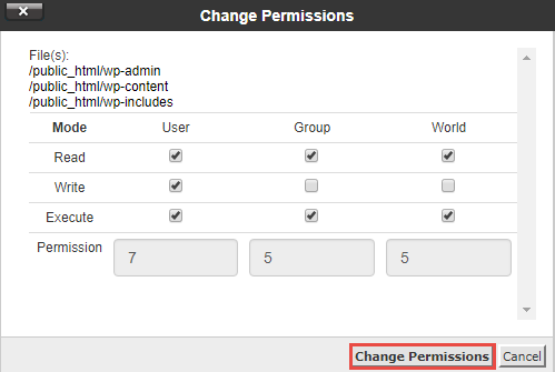 Change Permission Numerical Value