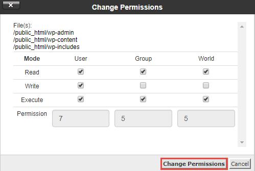 Change Permission Numerical Value