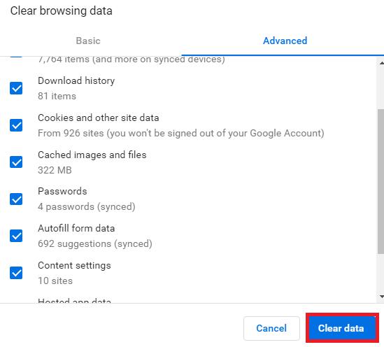 Clear Data Advance Settings