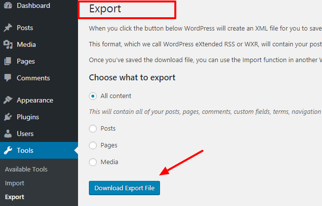 Click On Download Export File