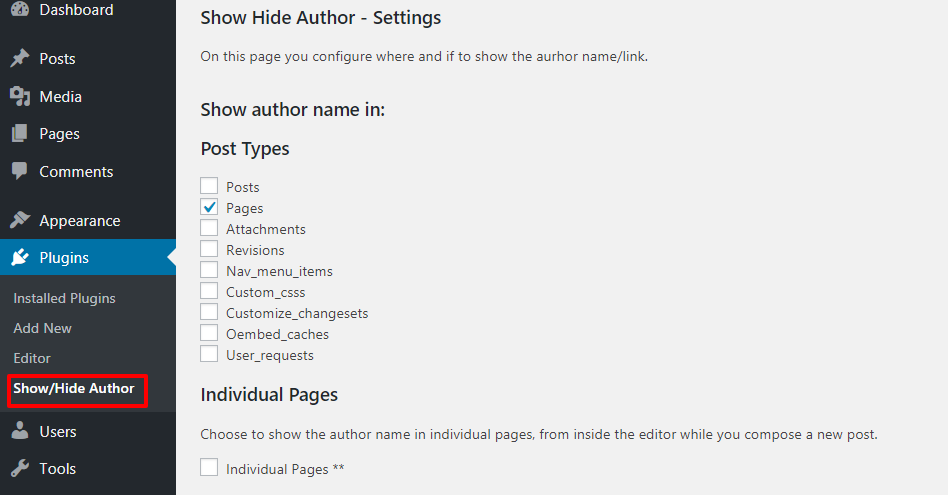 Configure Show Hide Author Plugin Settings