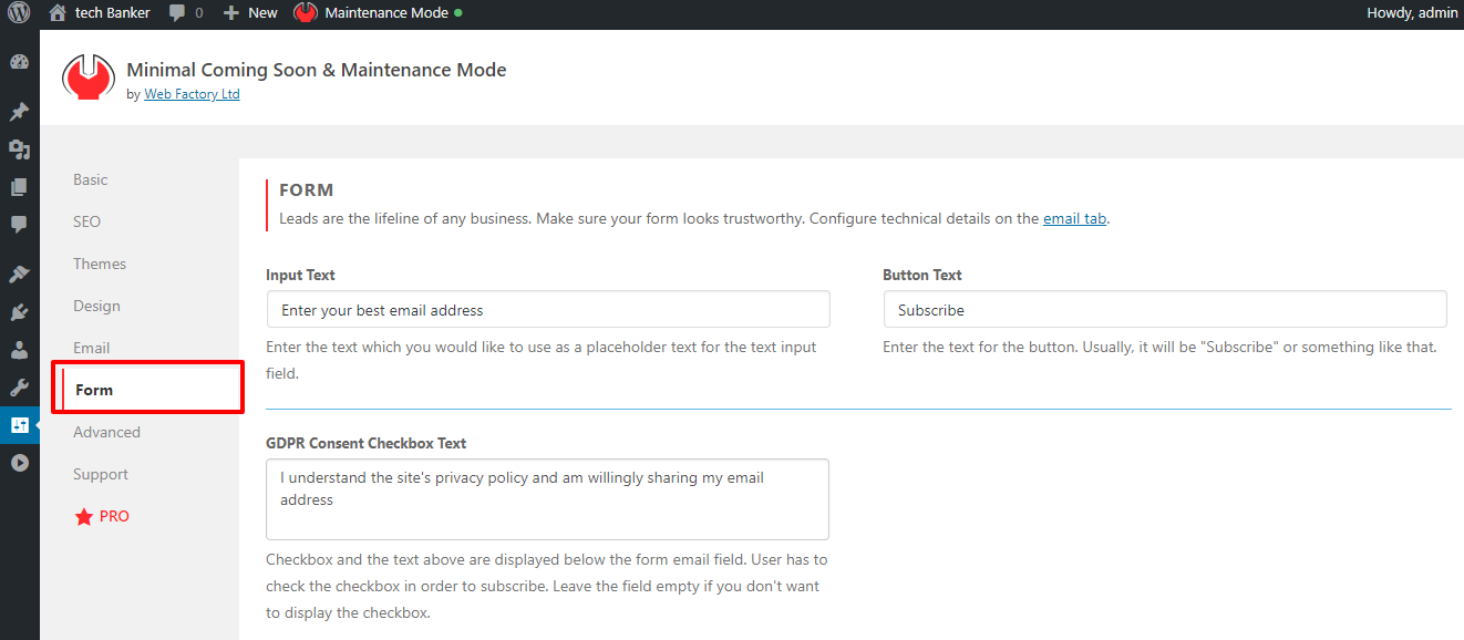 Create Form In Minimal Coming Soon Maintenance Mode