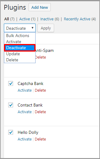 Bulk Deactivate Plugin