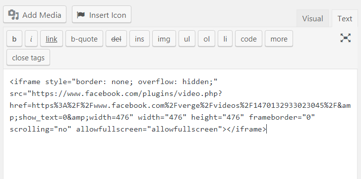 Iframe Code Into Text Editor