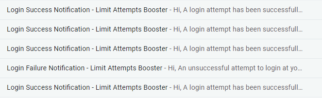 Mail Notification of Limit Attempt Booster
