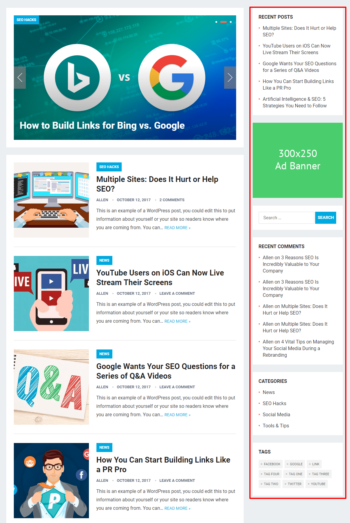 Display Sidebar On The Site