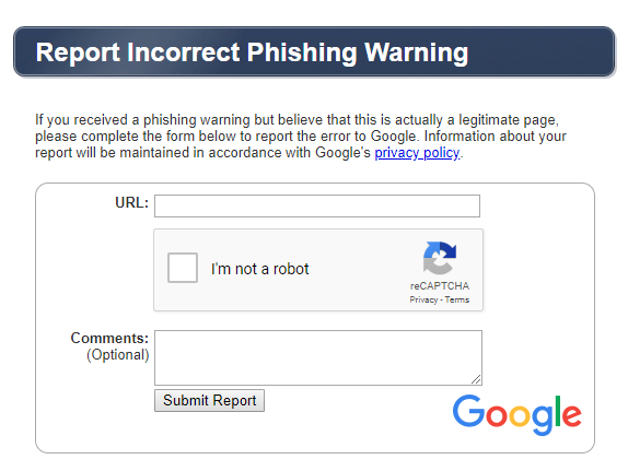 Report Incorrect Phising Warning