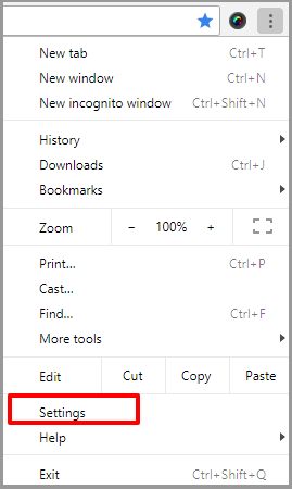 Settings Google Chrome