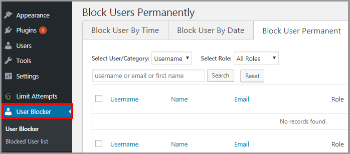 Settings Page User Blocker