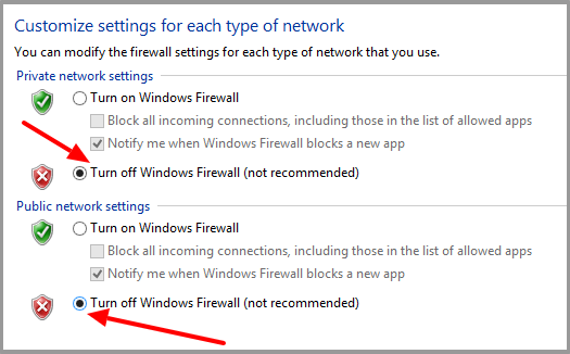 Turn Off Firewall Settings