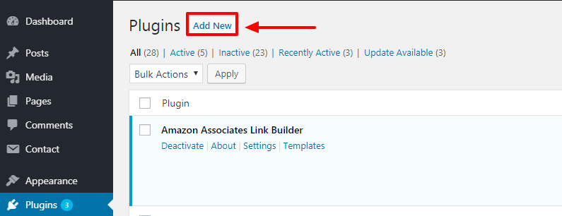 Click On Add New Button Plugins Page