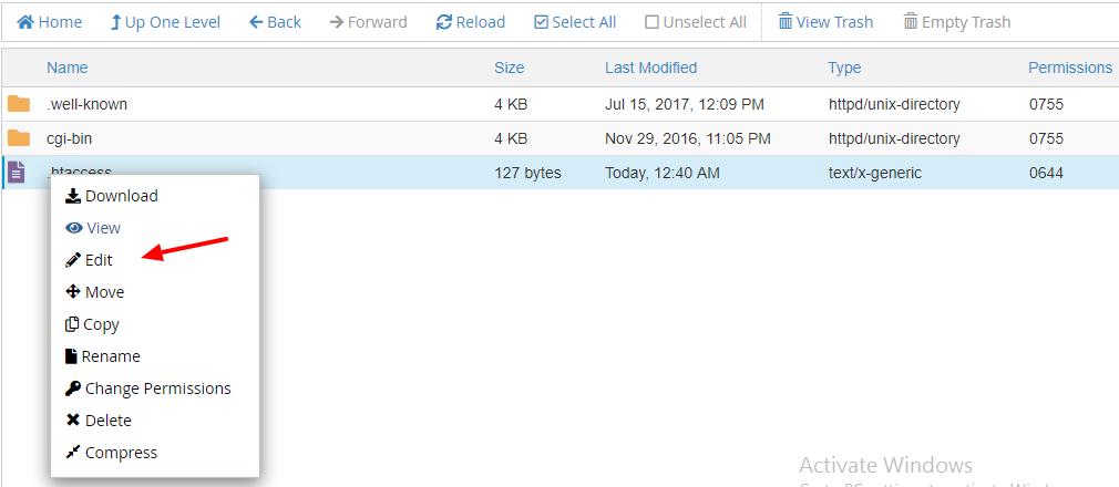 Edit htacces File